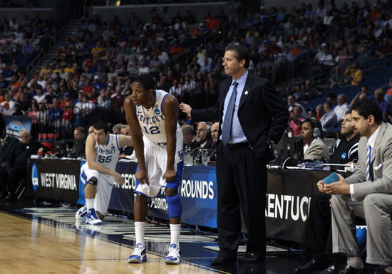 Brandon Knight and Head Coach John Calipari of the Kentucky Wildcats