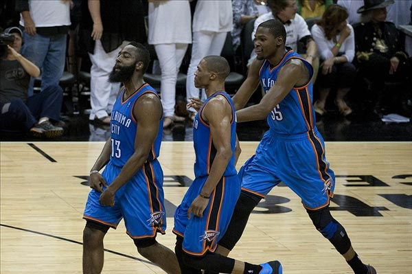 James Harden, Russell Westbrook, and Kevin Durant