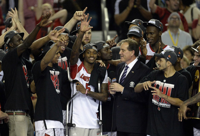 Louisville Cardinals guard Kevin Ware Celebrates